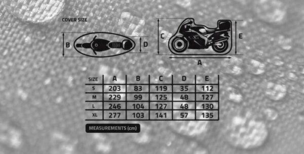 POKROWIEC WODOODPORNY MOTOCYKL Z KUFREM BIKETEC L
