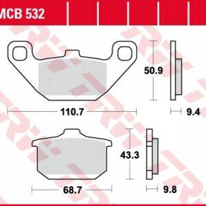 Klocki hamulcowe TRW MCB532 EL 250 EN GPZ GTR VN