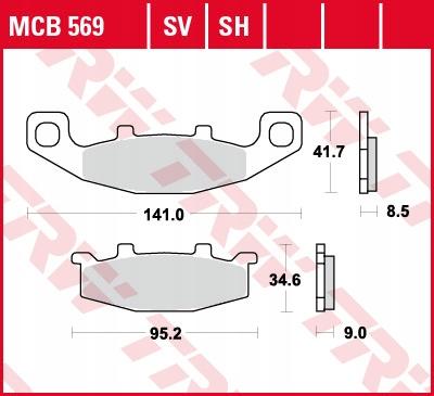Klocki hamulcowe TRW MCB569 ER500 GPX GTR KLE ZZR