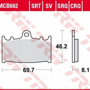 Klocki hamulcowe TRW MCB602 KAWASAKI ZXR ZZR KLZ