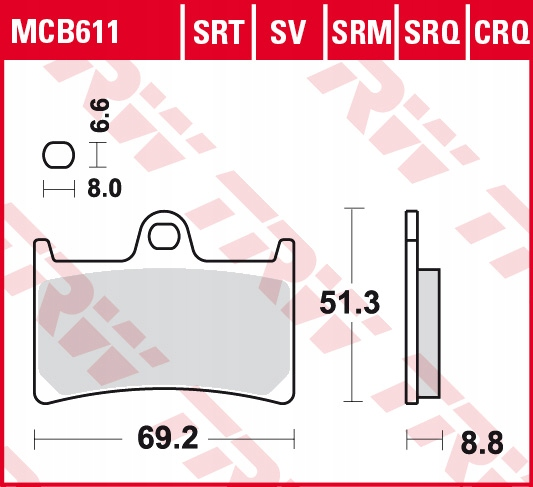 Klocki hamulcowe TRW MCB611SV YZF R6 MT07 TRACER