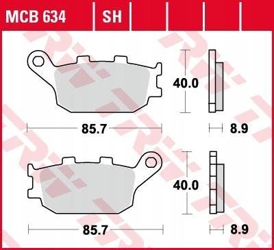 Klocki hamulcowe TRW MCB634SH XL VTR VTX DL FZ6