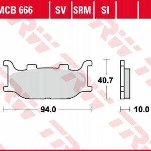 Klocki hamulcowe TRW MCB666 YAMAHA DRAGSTAR MT03