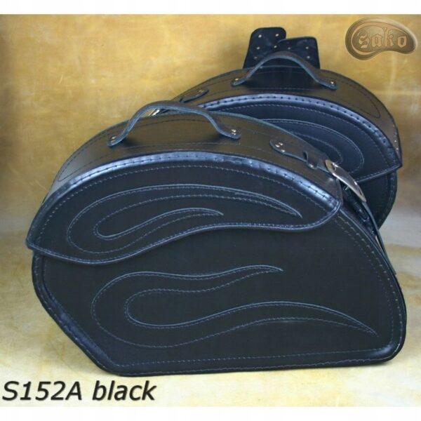 Sakwy CHOPPER Skórzane SAKO S152 A GŁADKIE BLACK