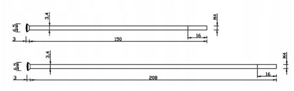 Szprychy nierdzewne BMW R25; R25/2 – 150mm / 208mm